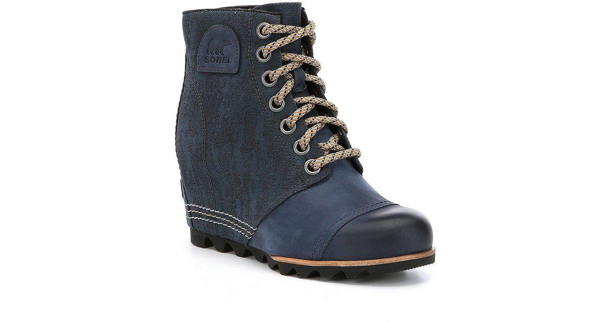 43de80650ef Lyst - Sorel Women s Pdx Wedge Lace Up Booties in Blue