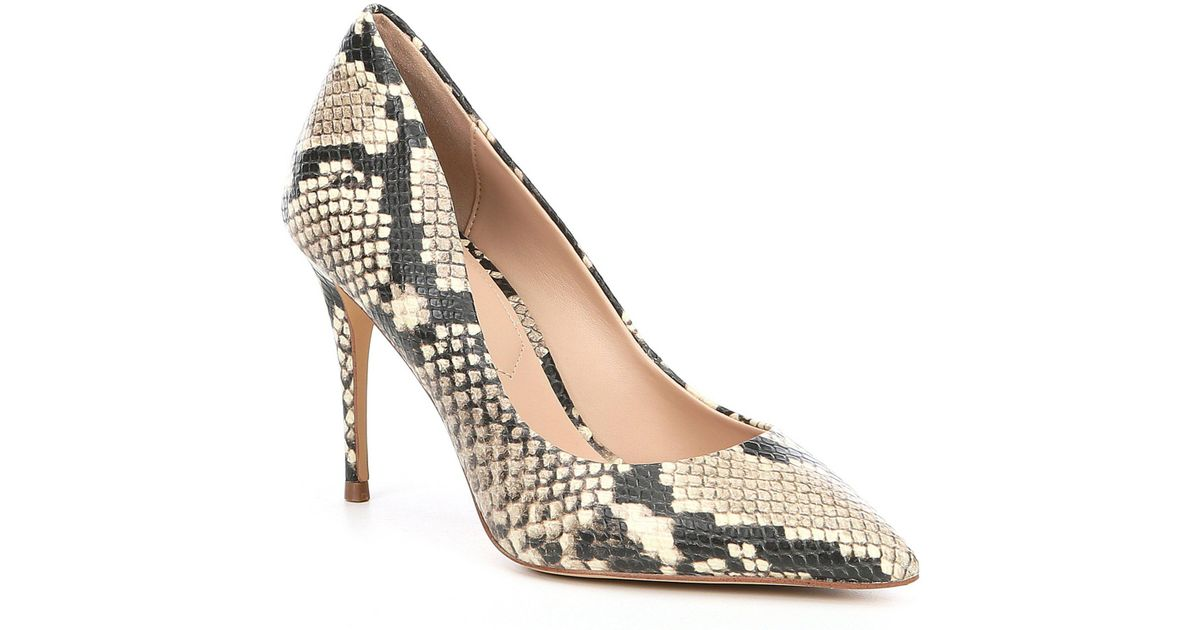 0a9903df6177 Lyst - ALDO Tracey Snake Print Leather Pumps in Natural