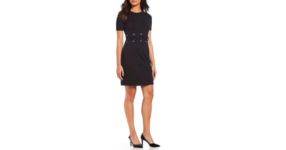 05a5459a2b Lyst - MICHAEL Michael Kors Grommet Trim Waist Lace-up Ponte Knit Sheath  Dress in Black