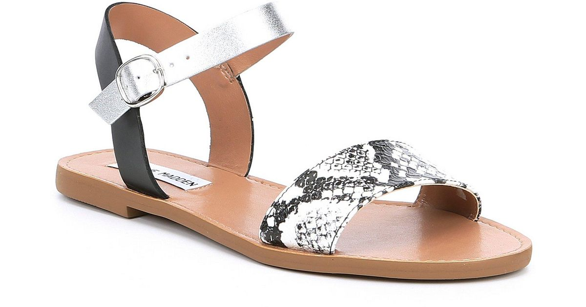 b709763bb92 Steve Madden - Multicolor Donddi Snake Banded Flat Sandals - Lyst