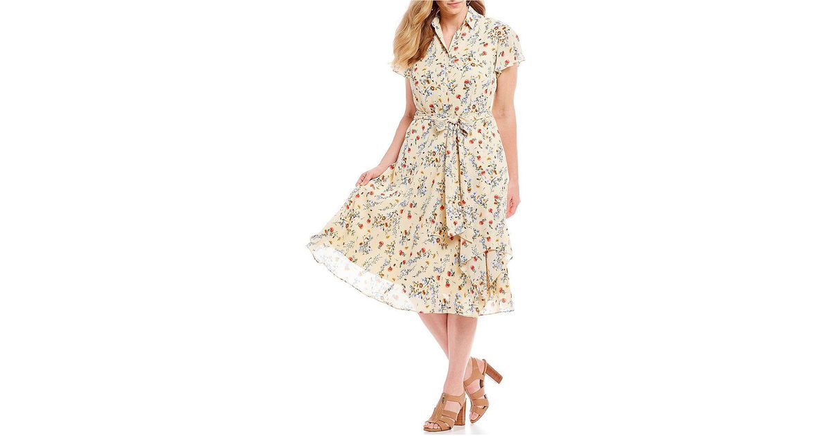 2f35fb8d19 Lyst - Tahari Plus Size Short Sleeve Floral Print Georgette Midi Shirt Dress