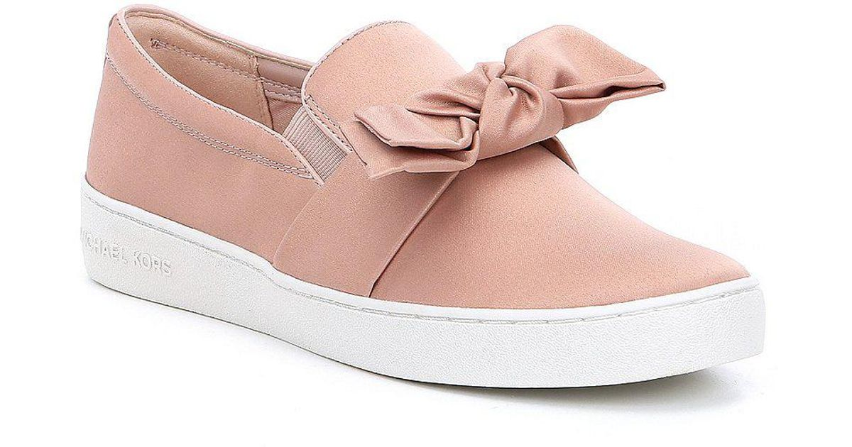 d538bd3365e8 Lyst - MICHAEL Michael Kors Willa Satin Bow Detail Slip On Sneakers in Pink
