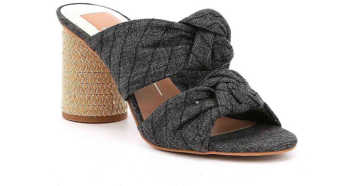 Jene Denim Double Knot Block Heel Sandals VY8oYbqZO