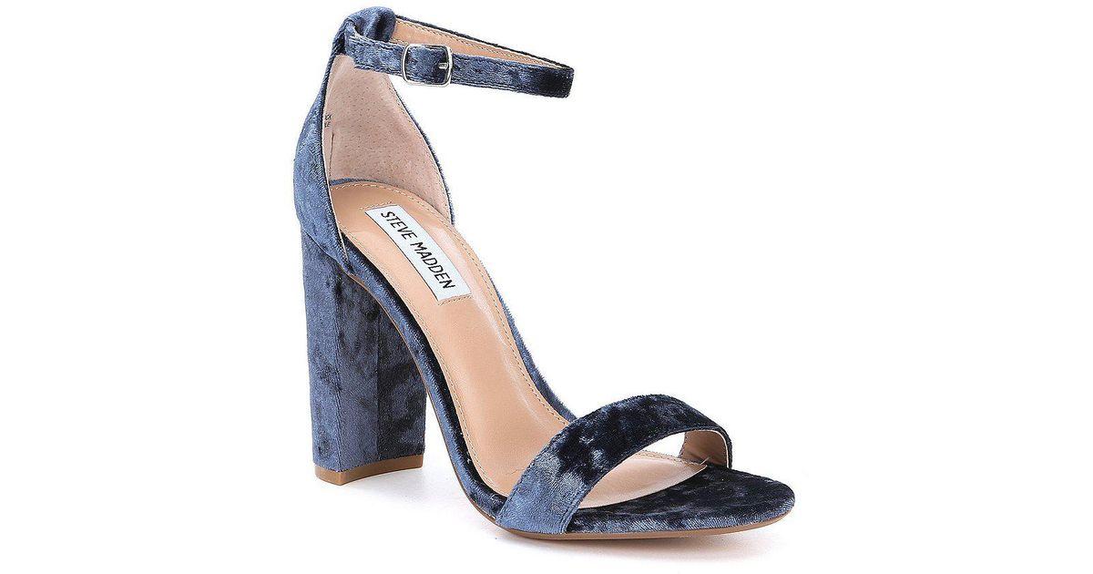 0f8ed42d128e9 Lyst Steve Madden Carrson Velvet Block Heel Dress Sandals In Blue