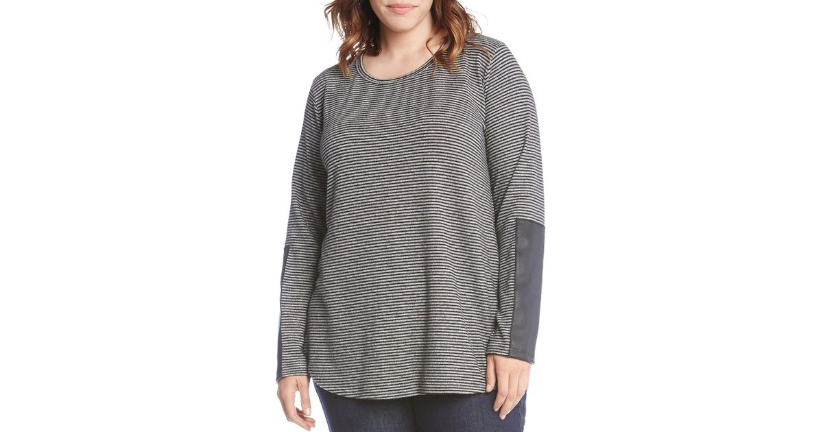 fea32bee3bc Lyst - Karen Kane Plus Size Faux Leather Sleeve Detail Tee