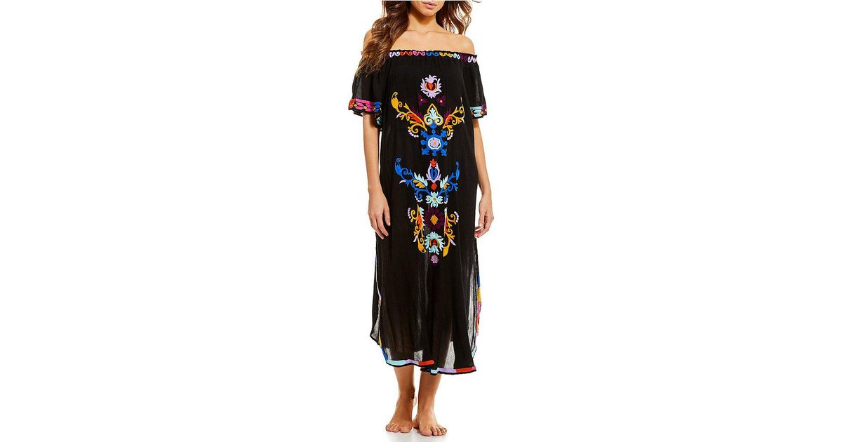 Lyst Gianni Bini Off The Shoulder Embroidered Dress Swimsuit Cover