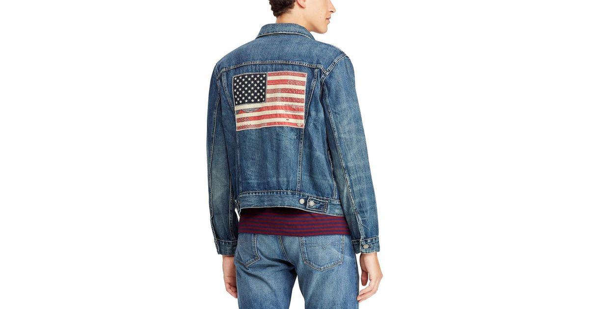 733f8a37c05 Polo Ralph Lauren Flag Patch Denim Trucker Jacket in Blue for Men - Lyst