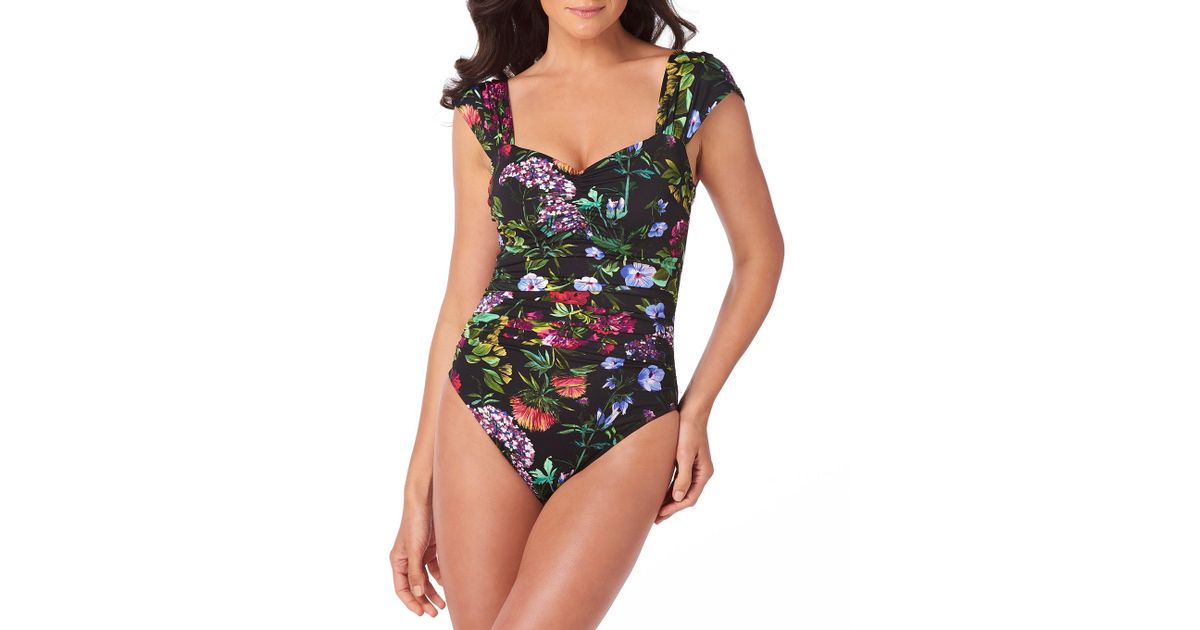 dd42ff45023 Magicsuit Natalie Modern Romance Shirred One-piece Swimsuit - Save 40% -  Lyst
