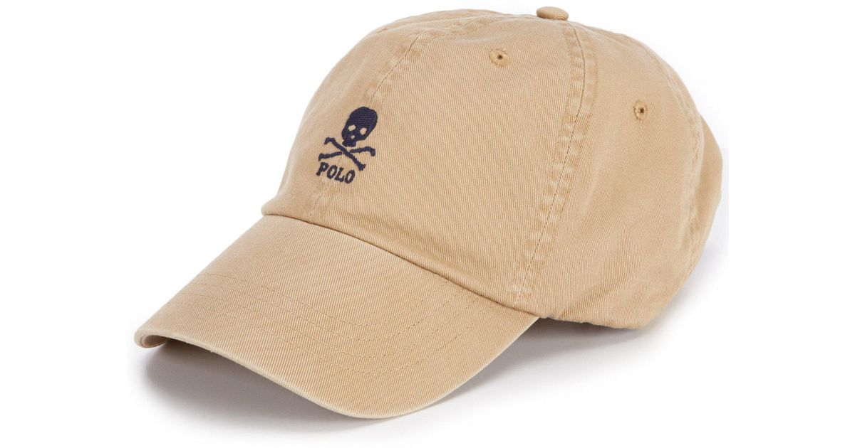 a56a0d2bf8bc0 Polo Ralph Lauren Skull-and-crossbones Chino Cap in Natural for Men - Lyst