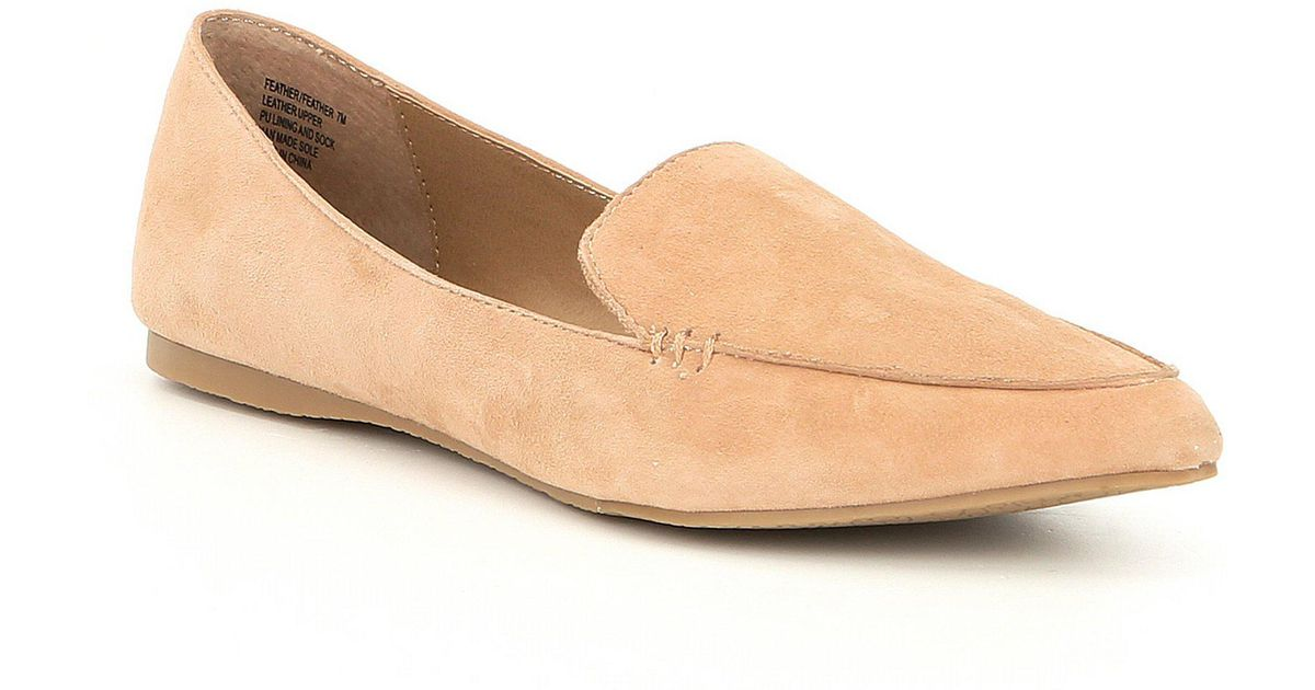30b3c295f0e Lyst - Steve Madden Feather Suede Loafers in Natural