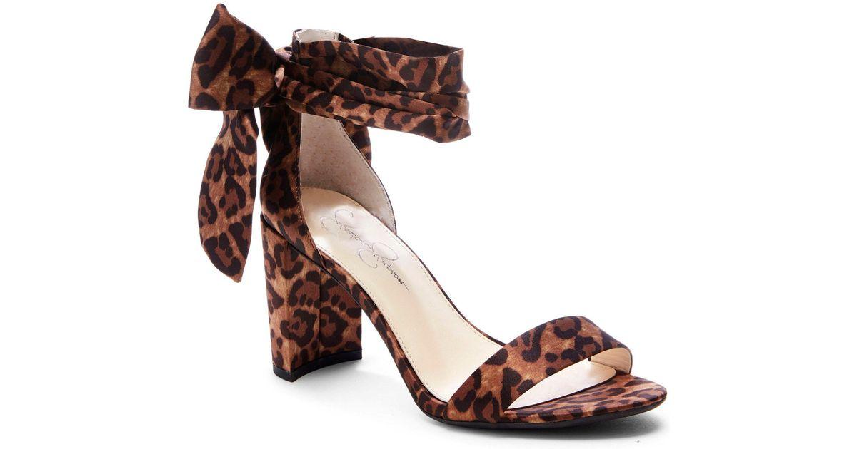 af8d2af1981b Lyst - Jessica Simpson Narella Leopard Print Ankle-tie Block Heel Sandals  in Brown
