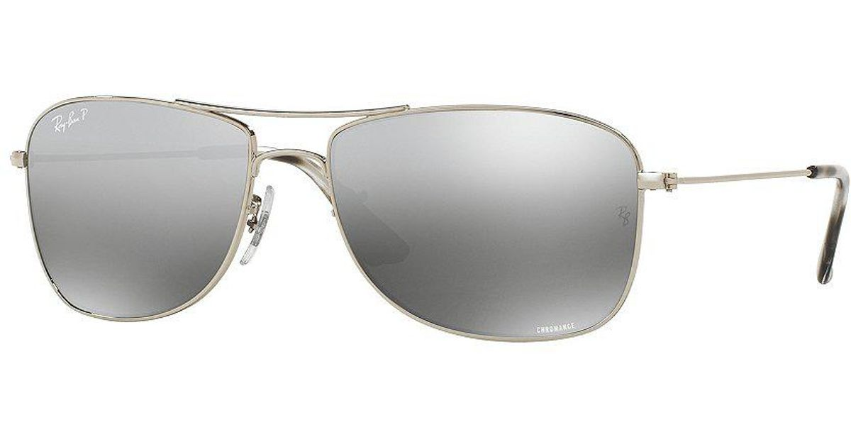 6aca1ff344 Lyst - Ray-Ban Chromance Polarized Mirrored Aviator Sunglasses in Gray for  Men