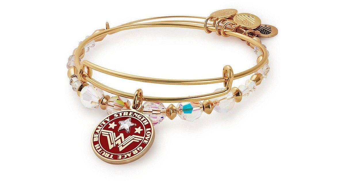 Lyst Alex And Ani Wonder Woman 2 Piece Charm Bangle Bracelet Set In Metallic