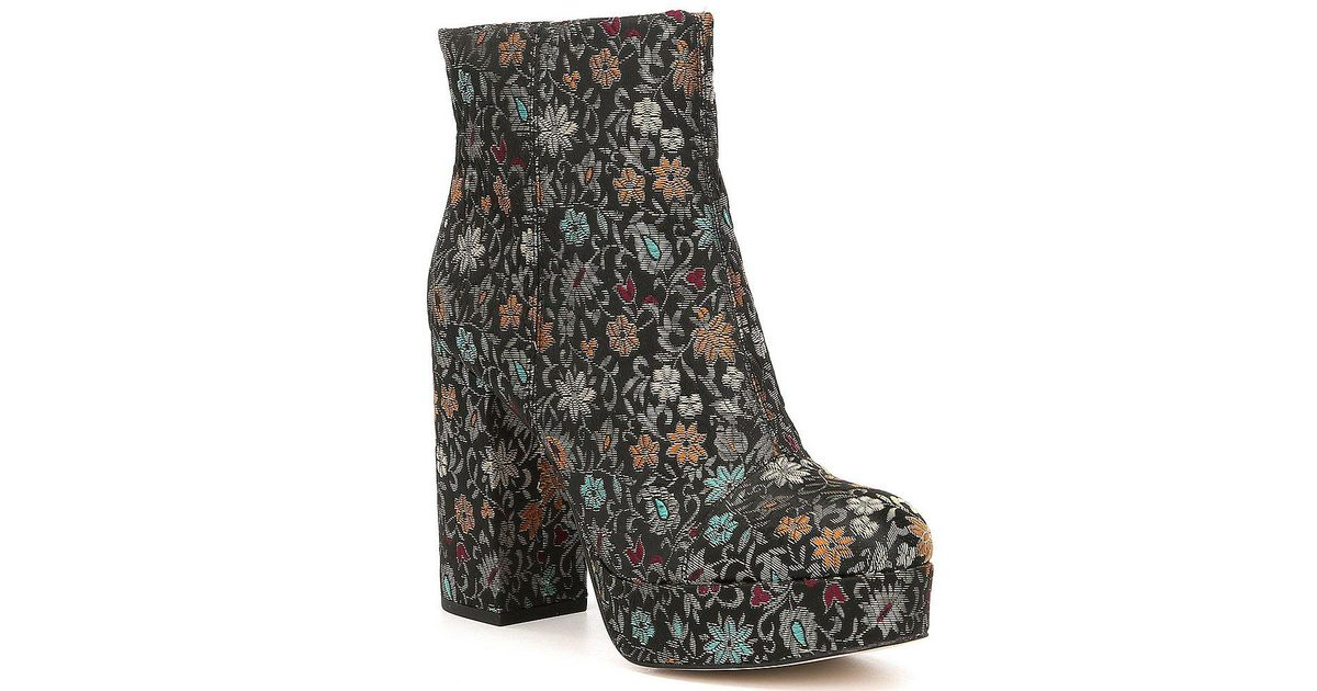 3fd88014896ddd Lyst - Sam Edelman Azra Floral Brocade Booties in Black - Save 65%