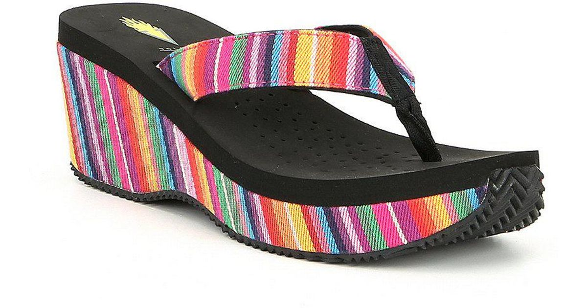 Beloved Serpe Stripe Wedge Sandals 3R34eblm