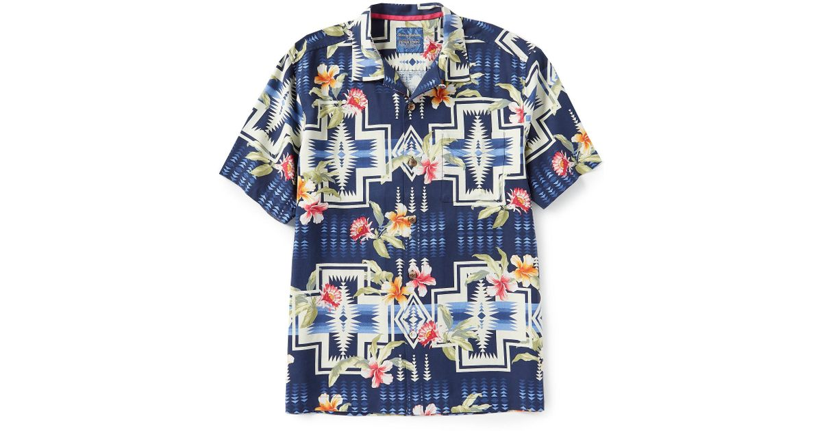 0969600c Tommy Bahama And Pendleton Aloha Harding Print Silk Short-sleeve Woven Camp  Shirt in Blue for Men - Lyst
