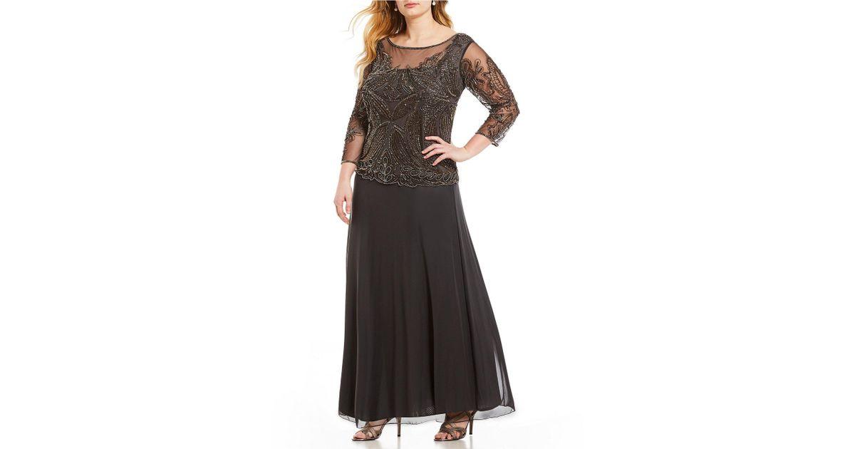 e48a3fcad14a4 Lyst - Pisarro Nights Plus Floral Beaded Bodice Mock 2-piece Dress in Black