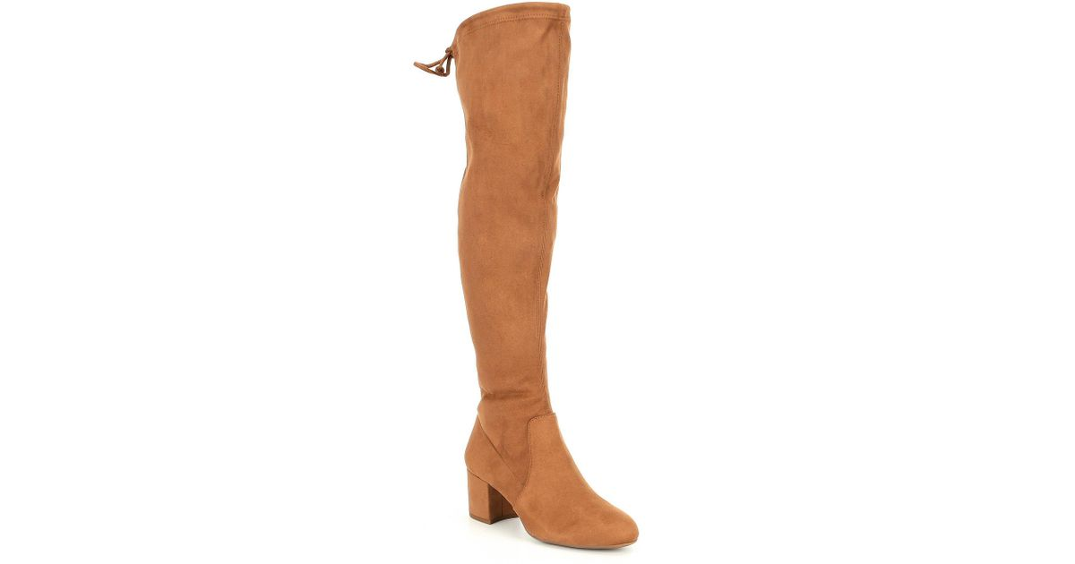 59491cc8c16 Lyst - Gianni Bini Trillia Block Heel Stretch Over The Knee Boots in Brown