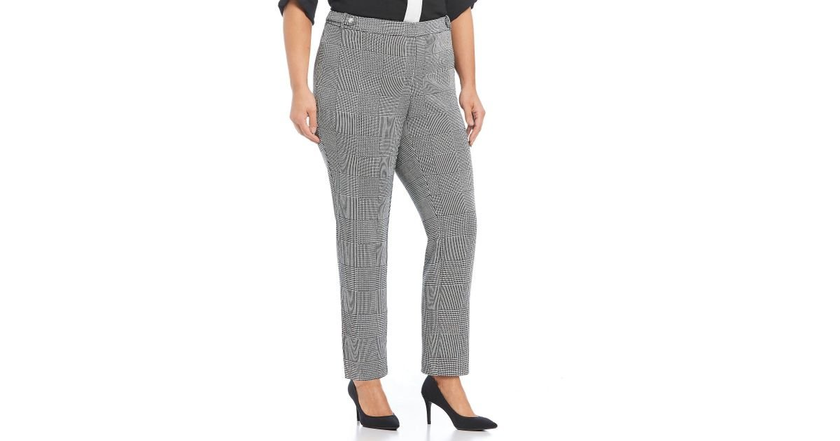 8883eb294c3 Lyst - Calvin Klein Plus Size Glen Plaid Houndstooth Straight Leg Pants in  Gray