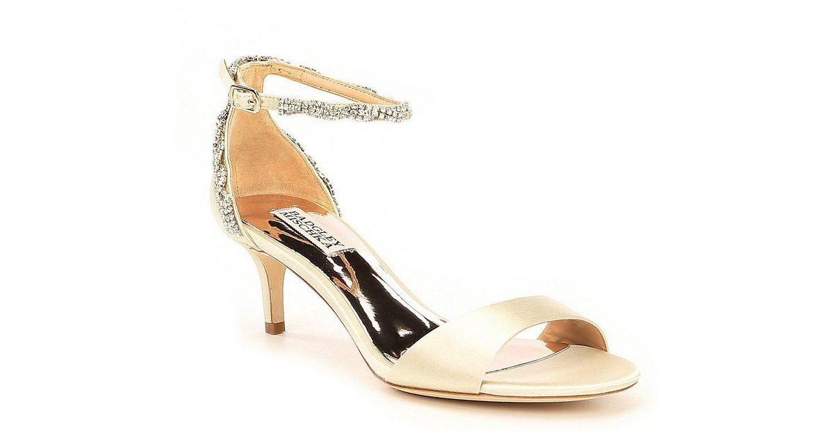 Badgley Mischka Yareli Rhinestone Jeweled Metallic Suede Dress Sandals HghNt