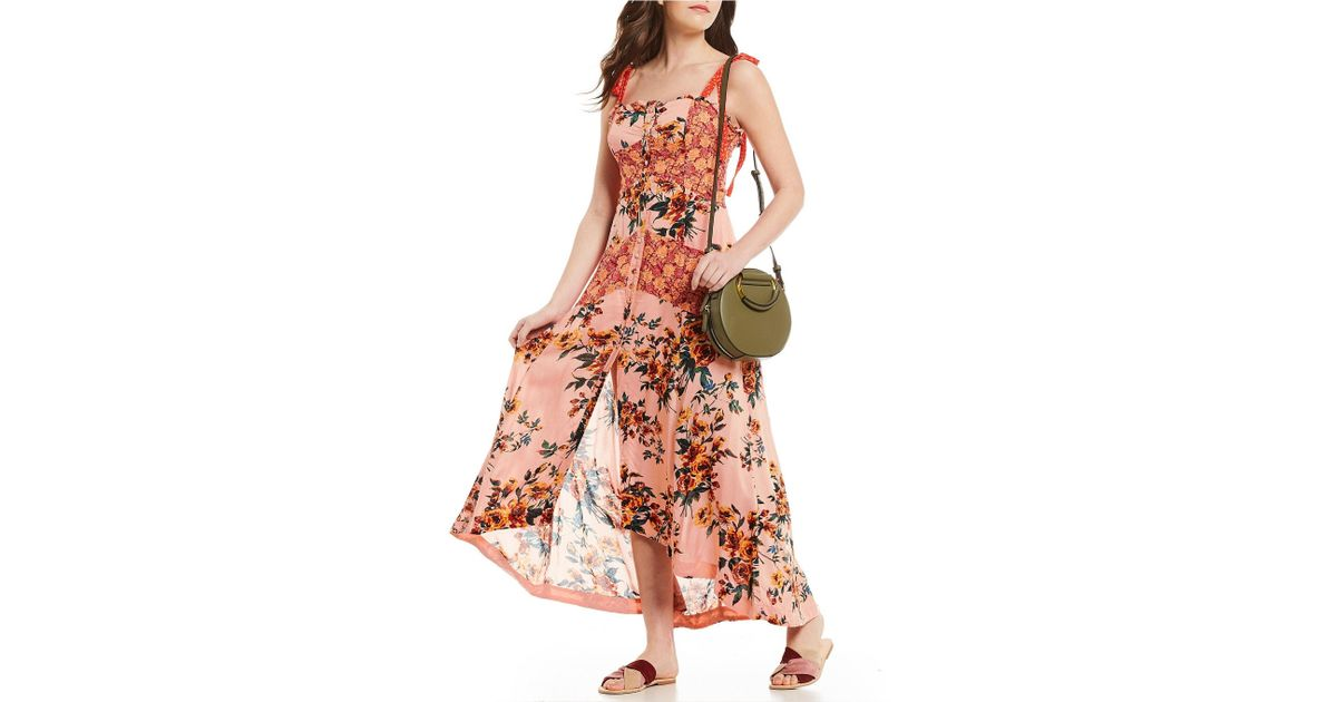 1c25a15f7f2 Free People Lover Boy Floral Print Button Front Maxi Dress in Red - Lyst