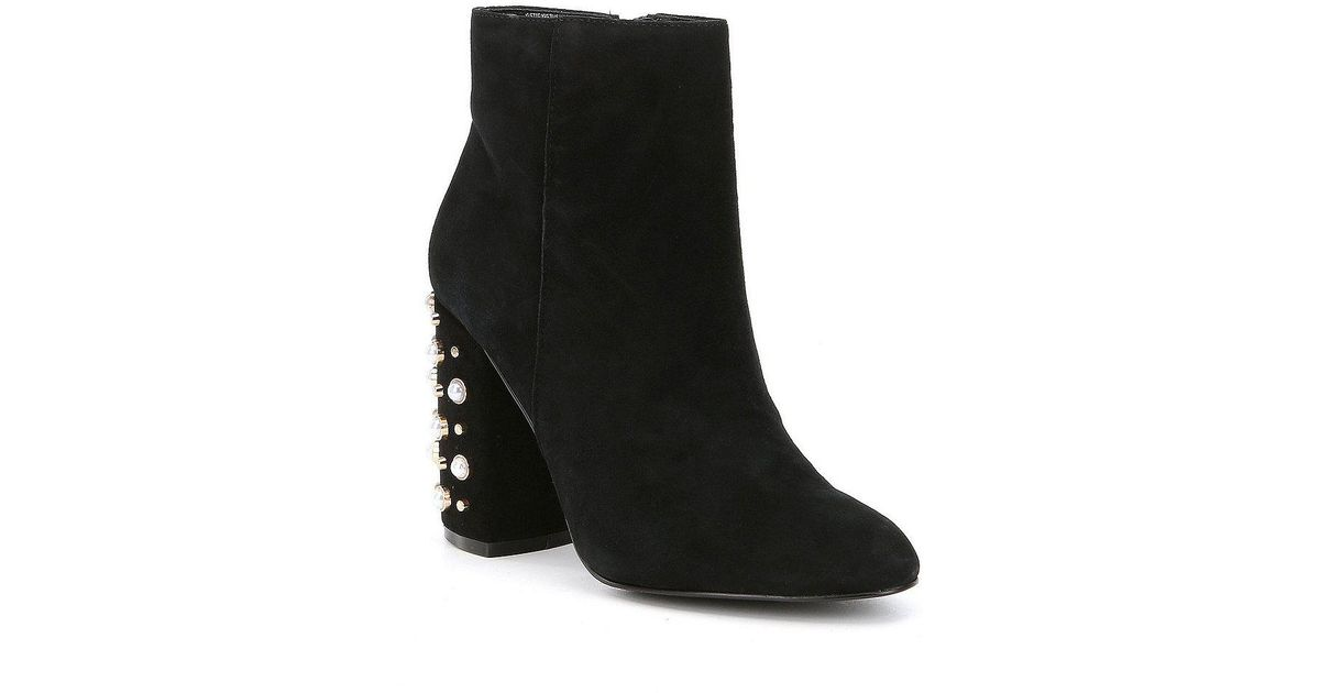 050cc7f8c8e Lyst - Steve Madden Yvette Suede Pearl Booties