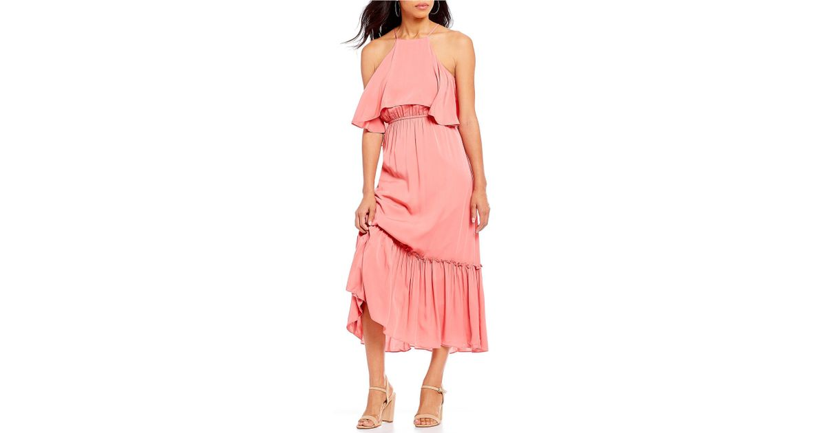 78a5d26a99 Lyst - Gianni Bini Madelyn Challis Popover Ruffle Hem Midi Dress in Pink