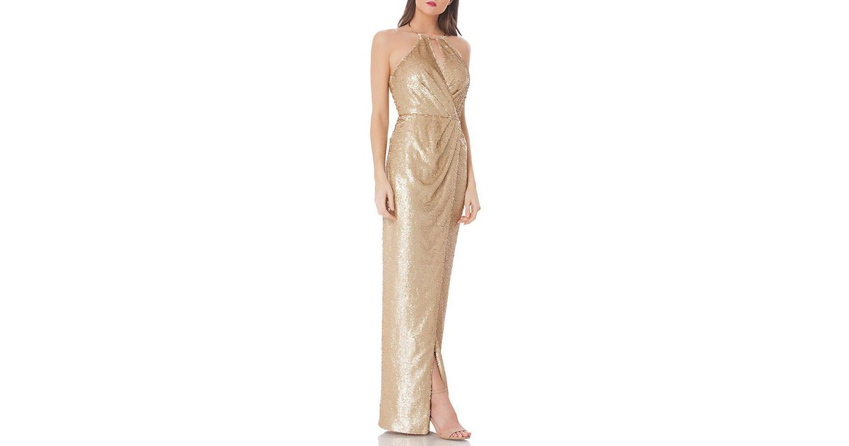 8ba17a0cb0f2 JS Collections Sequin Halter Gown in Metallic - Lyst