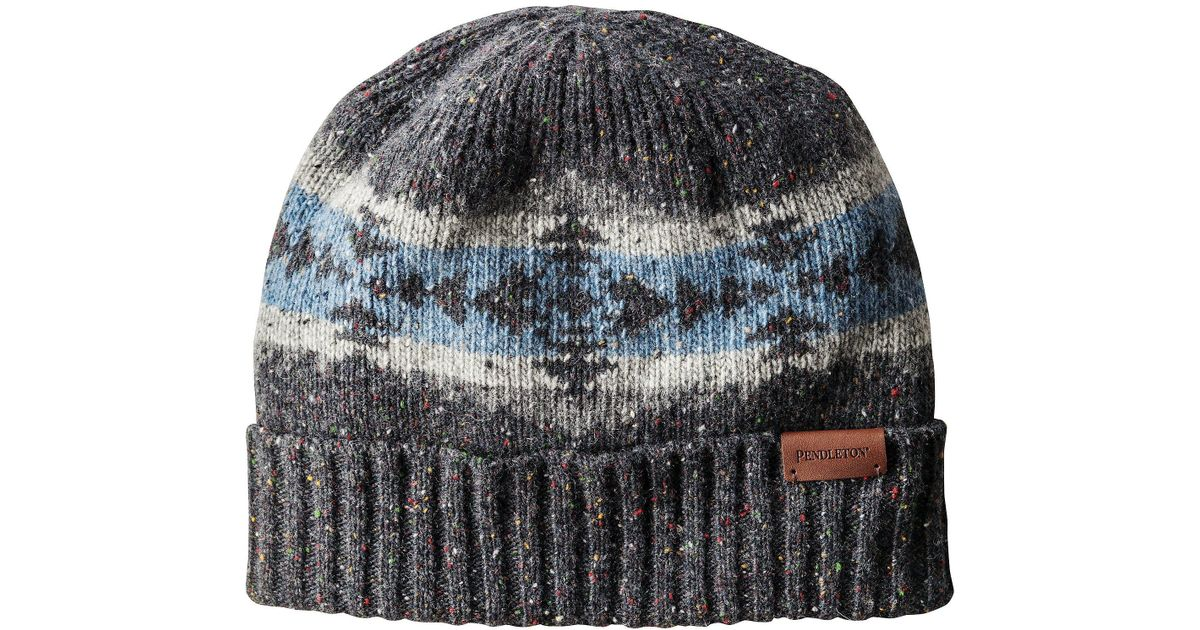 Lyst - Pendleton Printed Knit Beanie in Gray a3db70fd367