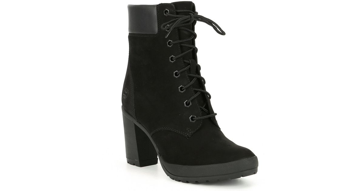 6b76c41778fa Lyst - Timberland Camdale Leather Block Heel Booties in Black