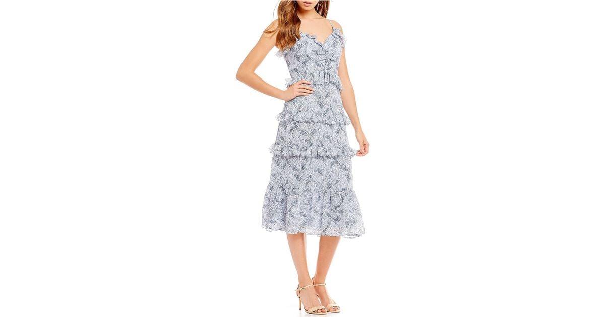 c170f4208aa Lyst - MICHAEL Michael Kors Paisley Fleur Print Tiered Ruffle A-line Midi  Dress in Blue