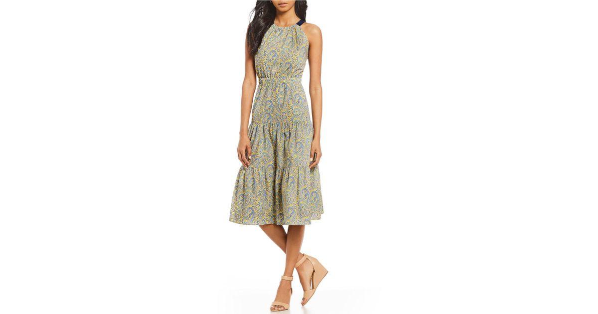 d7187198ce Antonio Melani Made With Liberty Fabrics Olivia Paisley Print Tiered Skirt  Midi Dress - Lyst