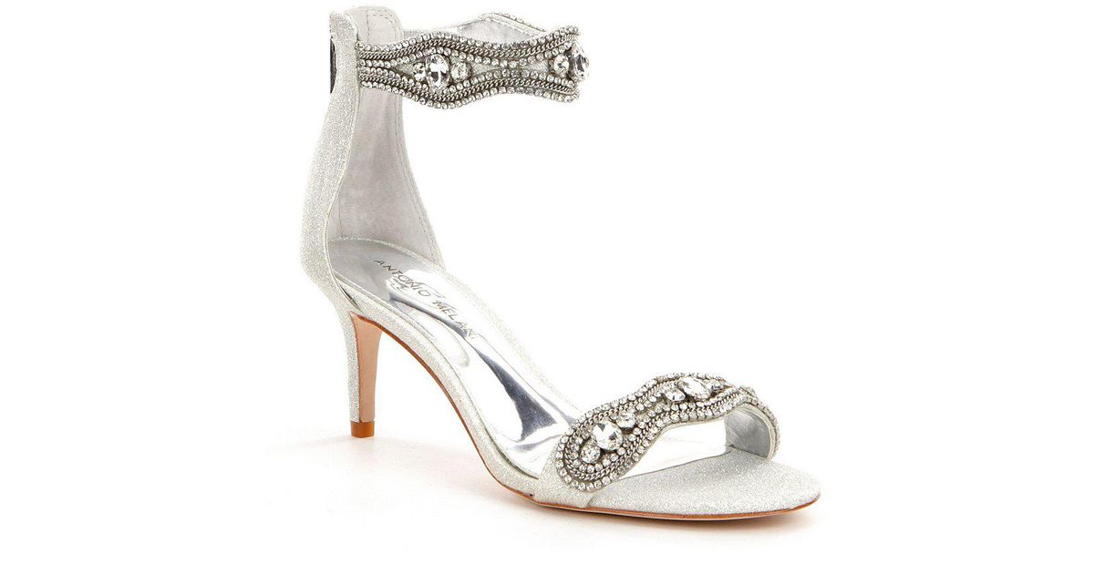 585eb8ff82cf Lyst - Antonio Melani Sadina Fabric Rhinestone Detailed Dress Sandals in  Metallic