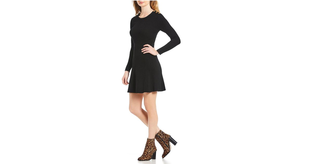e895987a515 Lyst - Gianni Bini Hazel A-line Sweater Dress in Black