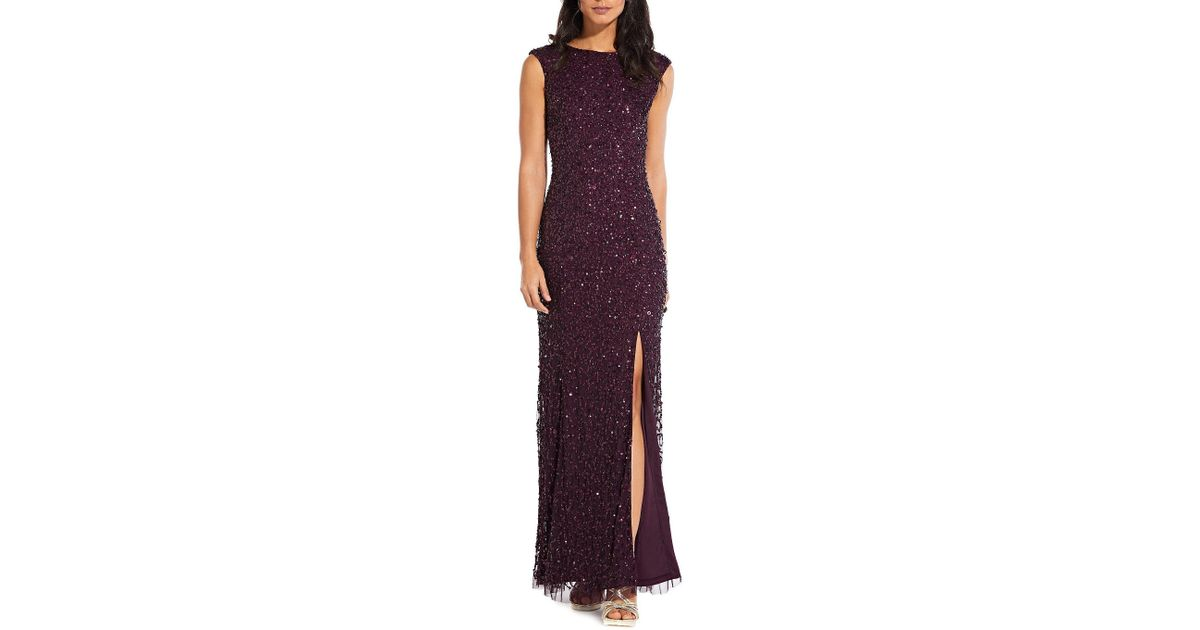 60f24c5123b Lyst - Adrianna Papell Plus Size Cap Sleeve Beaded Gown in Purple