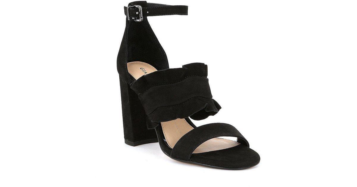 0ff494687a16 Lyst - Gianni Bini Irinah Suede Ruffle Detail Block Heel Dress Sandals in  Black