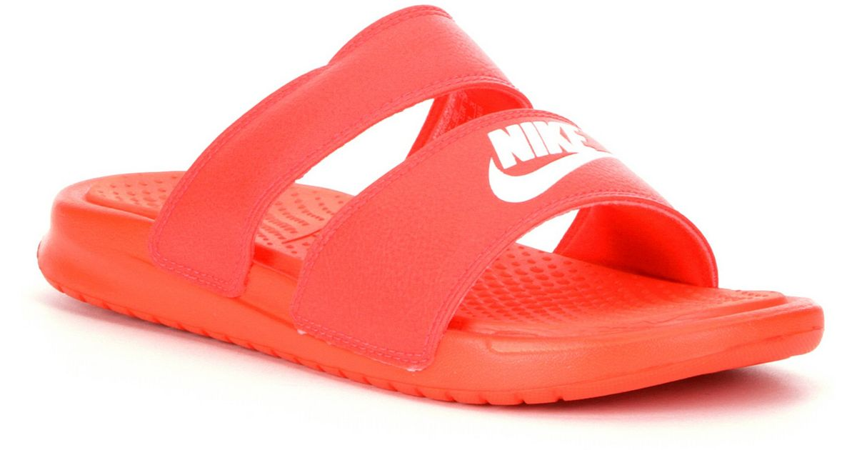 45800b4c7b2 Lyst - Nike Benassi Duo Ultra Sandals in Red