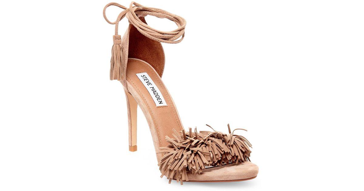 b59655d3111 Steve Madden Sassey Fringe Sandals in Natural - Lyst