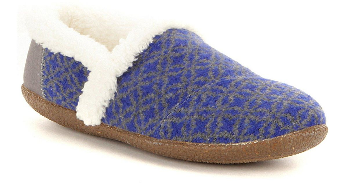 Toms Fair Isle Faux-shealing Lined Slippers in Blue | Lyst