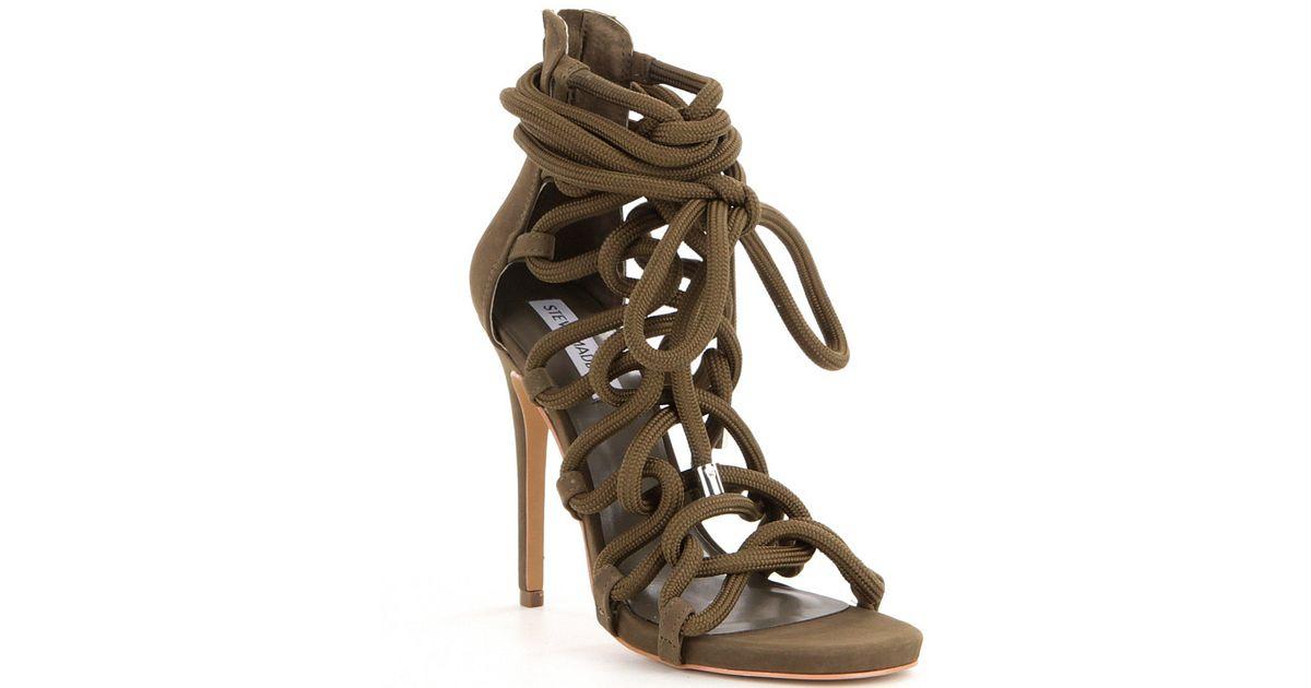2c50ee87ab7 Lyst - Steve Madden Dancin Back Zip Bungee Inspired Lace-up High Heel Dress  Sandals in Green