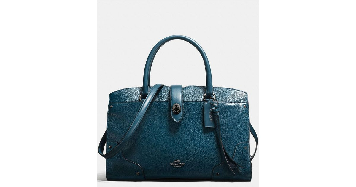 52424180a5e48 Lyst - COACH Mercer 30 Mixed-leathers Satchel in Blue
