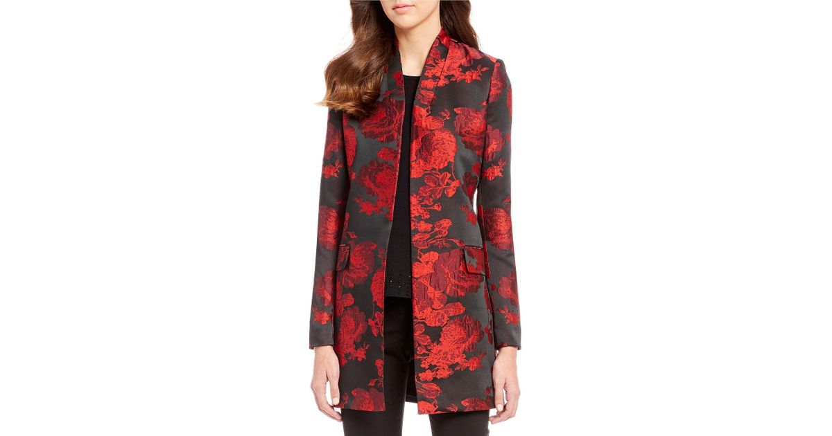 6ac2129b01fe4 Lyst - Calvin Klein Floral Jacquard Topper Jacket in Red
