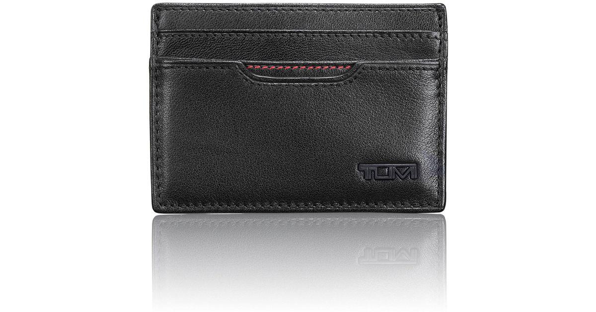 90c8c5a27299db Tumi Id Lock Contrast Stitching Slim Card Case in Black for Men - Lyst