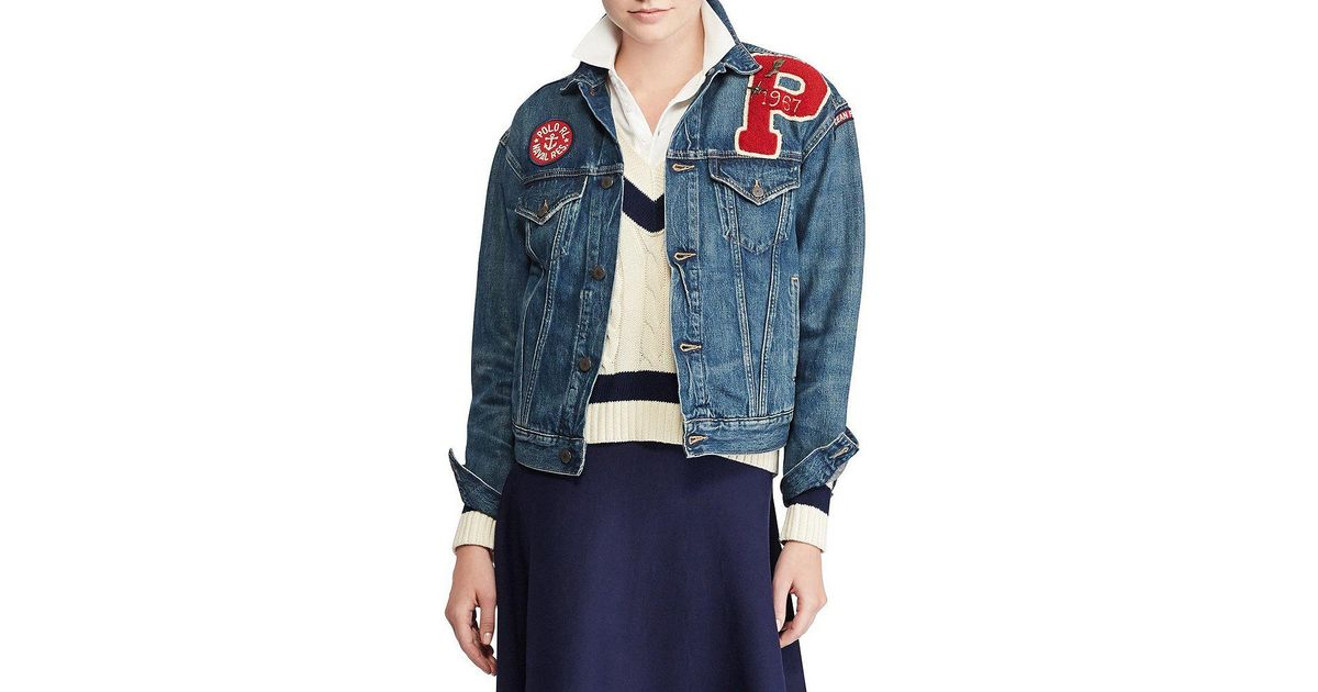8b256dc1186 Lyst - Polo Ralph Lauren Varsity Patchwork Denim Jacket in Blue