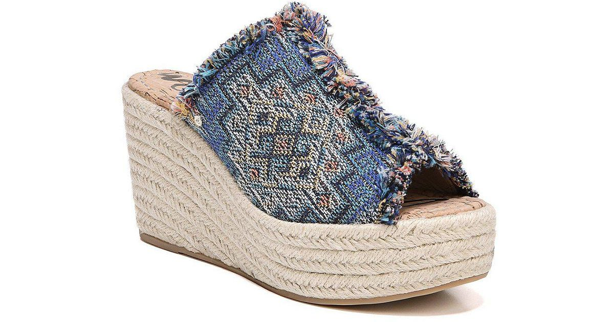 377e8e917c4 Lyst - Sam Edelman Dina Woven Fabric Wedge Espadrilles in Blue