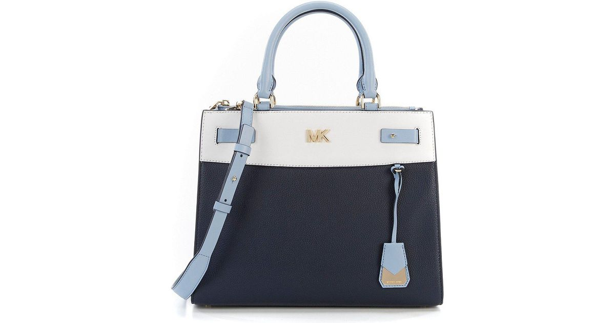 c5563024398b ... discount code for lyst michael michael kors reagan colorblock large  satchel in blue 16e5e 71e8f