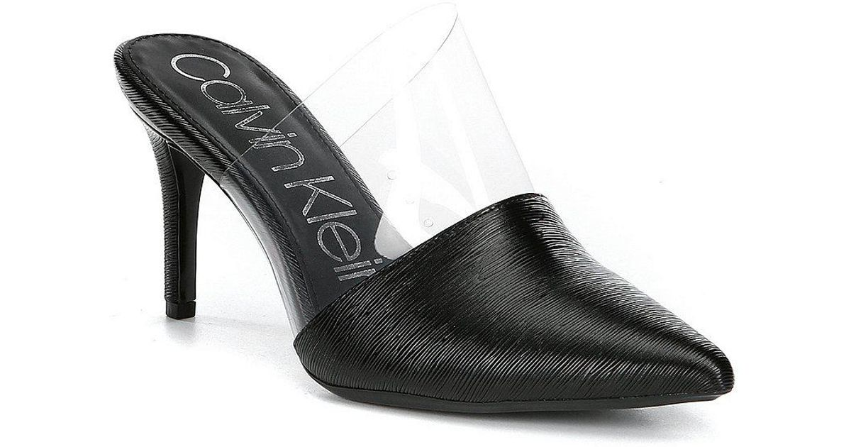 Graycie 2 Saffiano Transparent Detail Leather Mules AGyxZ4N