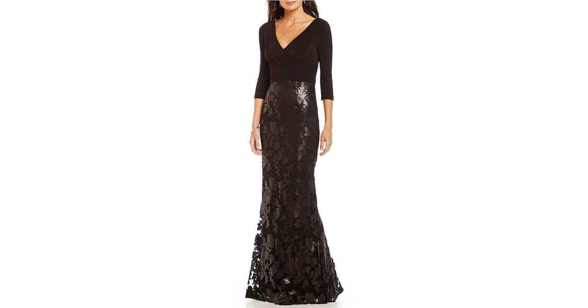 Lyst - Adrianna Papell Long V-neck Sequin Lace Gown in Black