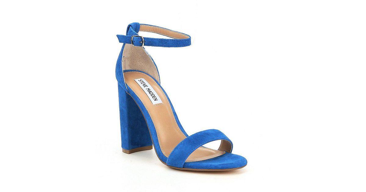 26fc5204ef6 Lyst - Steve Madden Carrson Suede Ankle Strap Block Heel Dress Sandals in  Blue