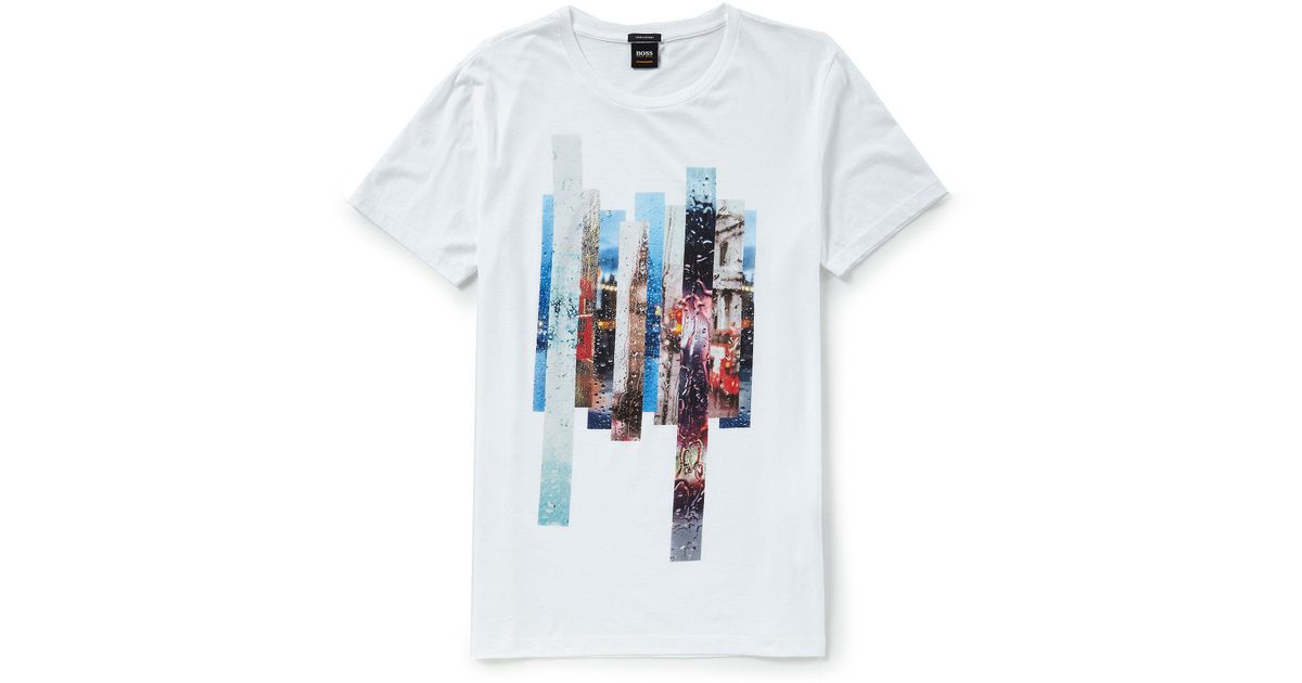 913c2532a BOSS Touch Up Cotton Tee in White for Men - Lyst